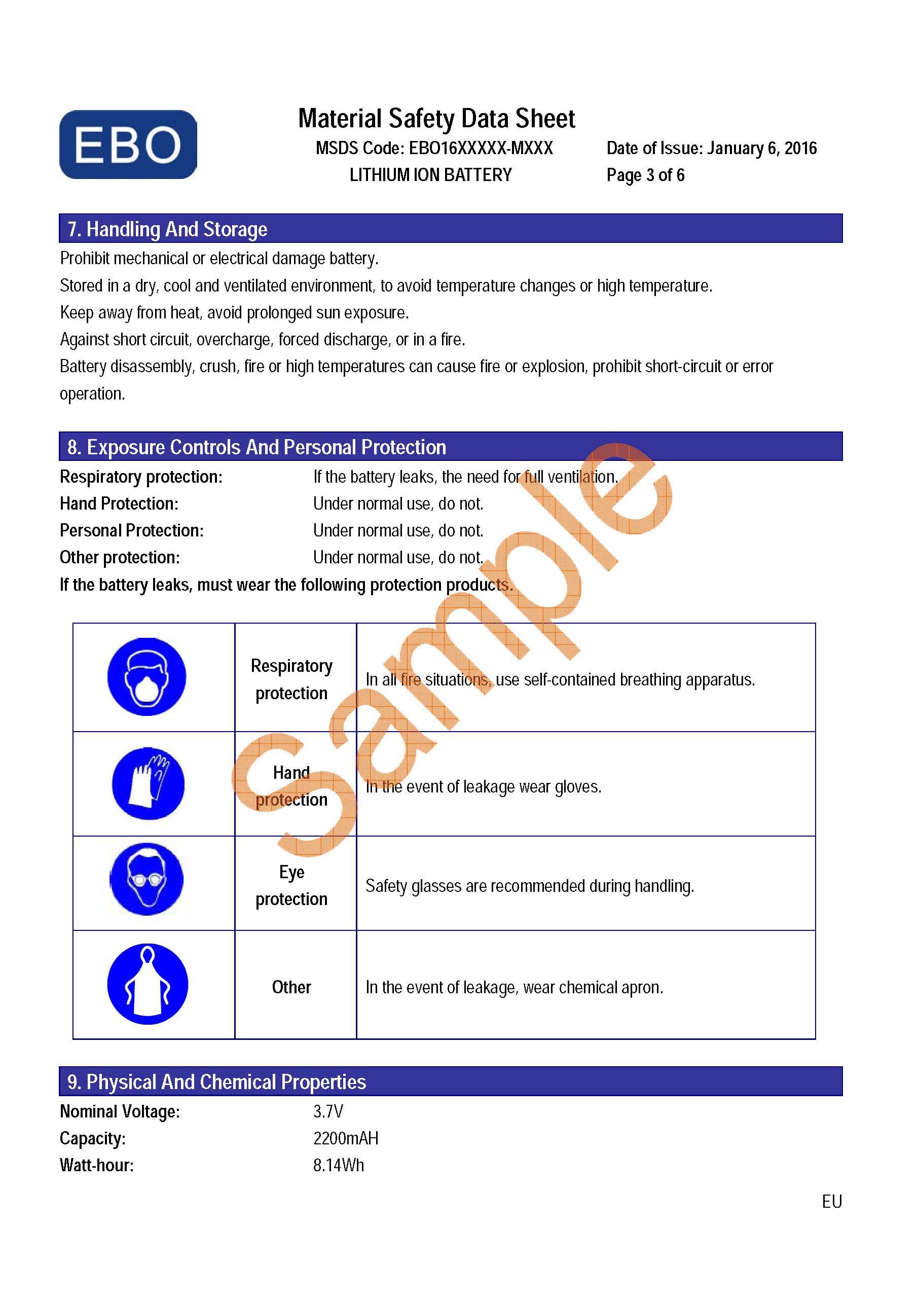 锂电池MSDS报告样本
